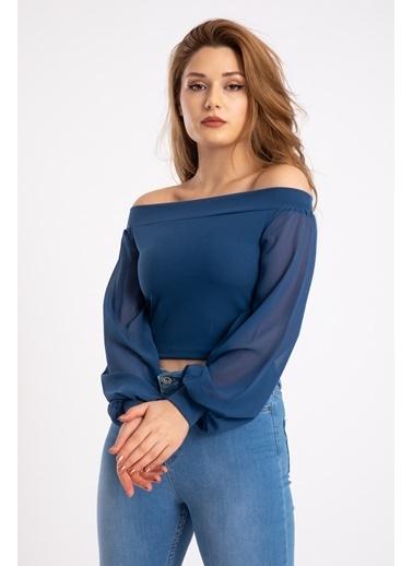 Madame Sare  Kadın Mavi Kolları Tüllü Bluz Mavi